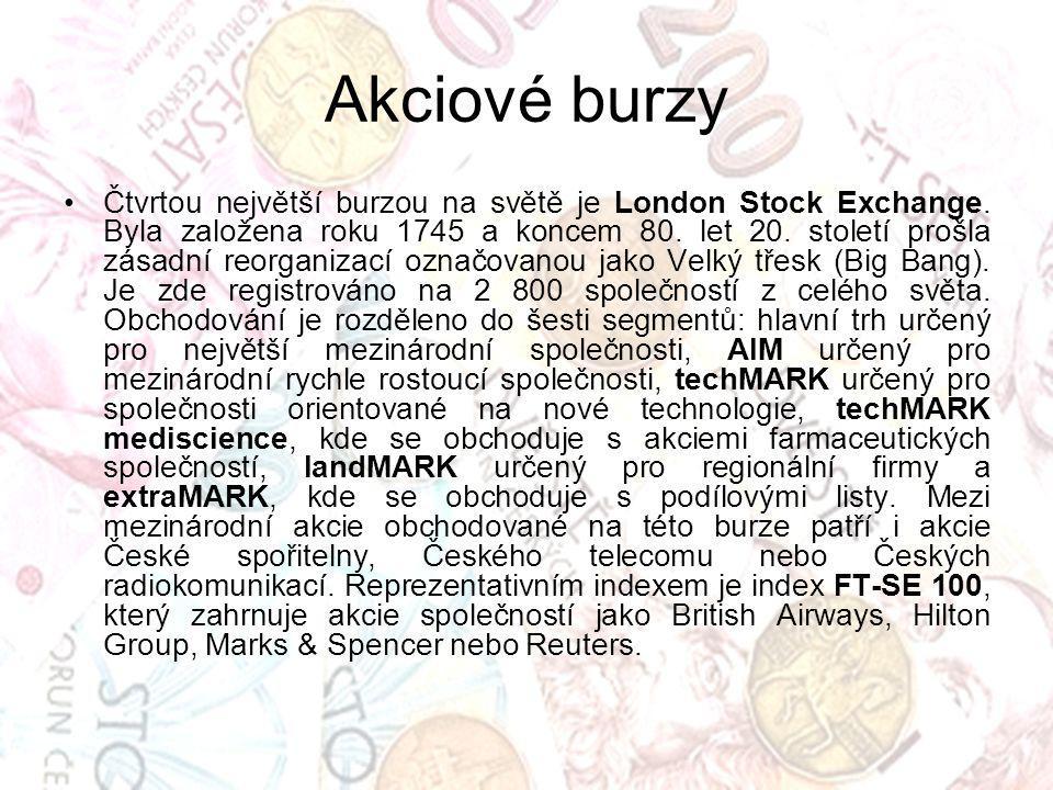 Akciové burzy Čtvrtou největší burzou na světě je London Stock Exchange.