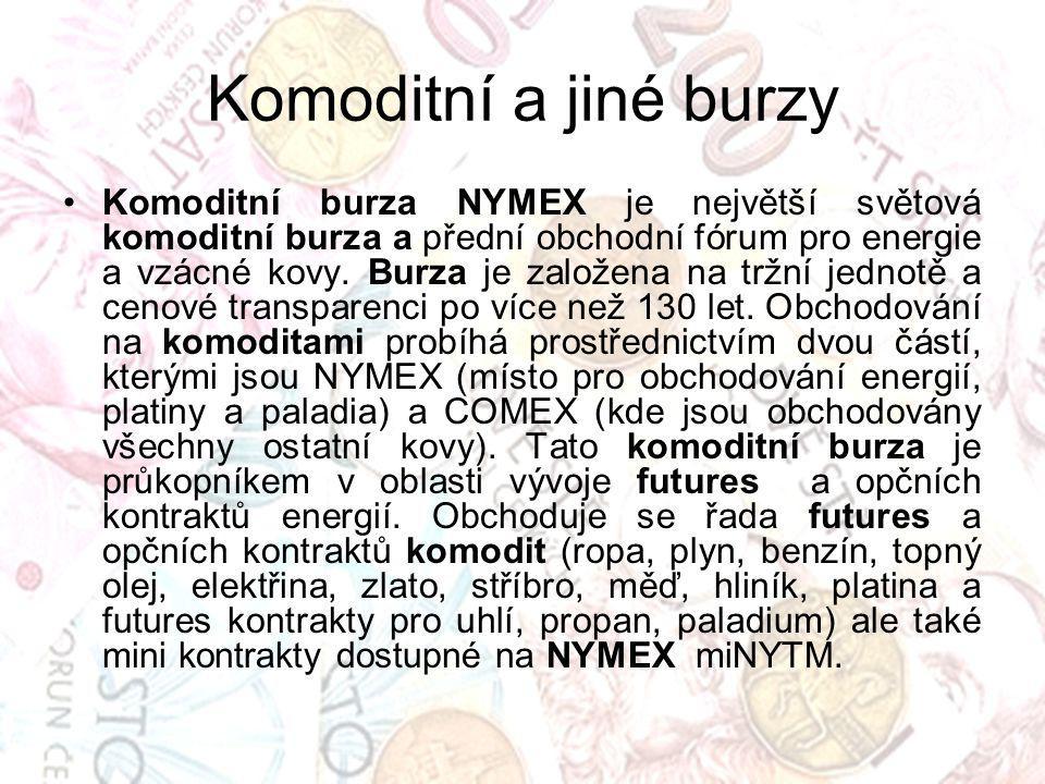 Komoditní a jiné burzy Komoditní burza NYMEX je největší světová komoditní burza a přední obchodní fórum pro energie a vzácné kovy.