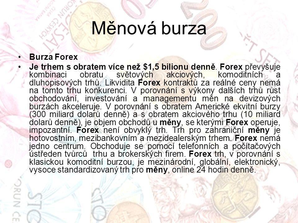 Měnová burza Burza Forex Je trhem s obratem více než $1,5 bilionu denně. Forex převyšuje kombinaci obratu světových akciových, komoditních a dluhopiso
