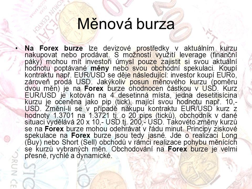 Měnová burza Na Forex burze lze devizové prostředky v aktuálním kurzu nakupovat nebo prodávat. S možností využití leverage (finanční páky) mohou mít i