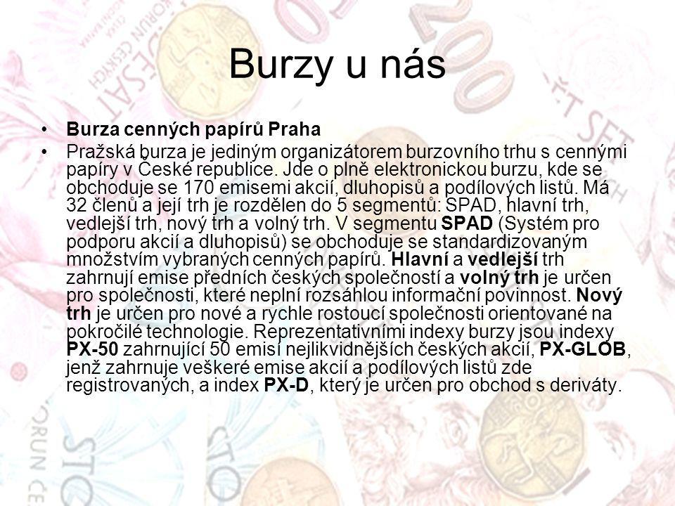 Burzy u nás Burza cenných papírů Praha Pražská burza je jediným organizátorem burzovního trhu s cennými papíry v České republice. Jde o plně elektroni