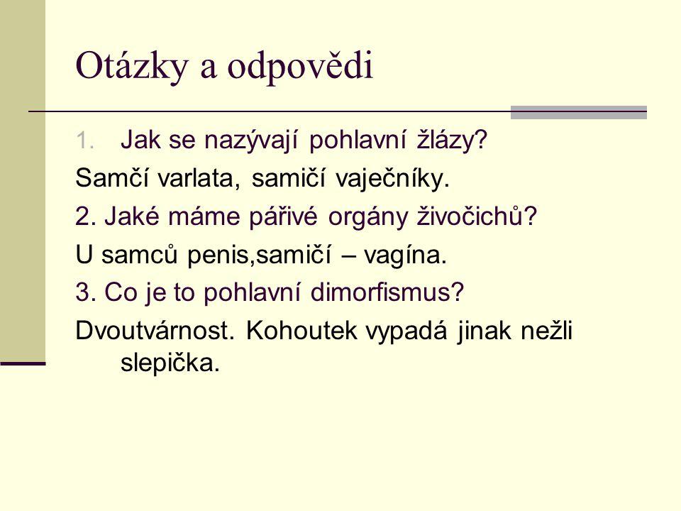 Otázky a odpovědi 1. Jak se nazývají pohlavní žlázy.