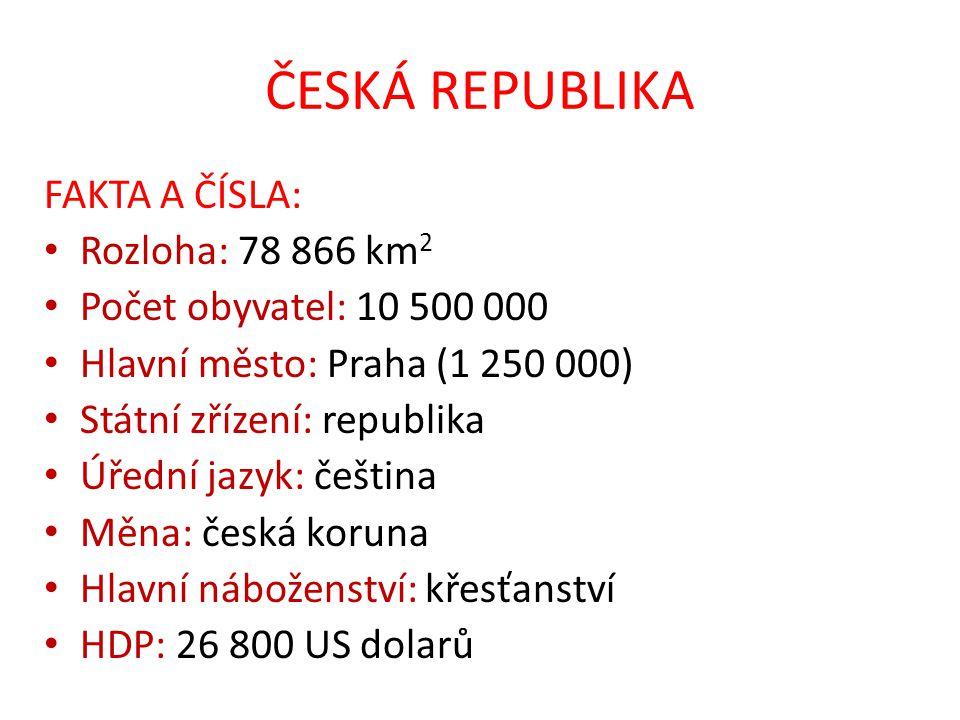 ČESKÁ REPUBLIKA FAKTA A ČÍSLA: Rozloha: 78 866 km 2 Počet obyvatel: 10 500 000 Hlavní město: Praha (1 250 000) Státní zřízení: republika Úřední jazyk:
