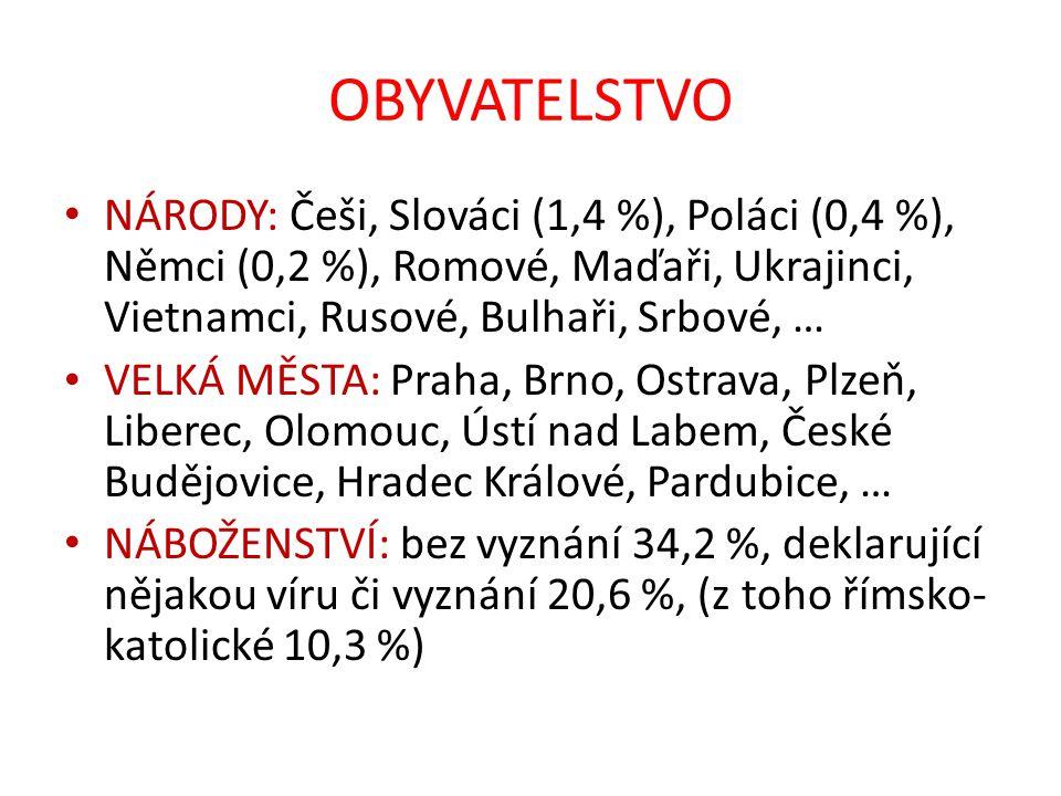 OBYVATELSTVO NÁRODY: Češi, Slováci (1,4 %), Poláci (0,4 %), Němci (0,2 %), Romové, Maďaři, Ukrajinci, Vietnamci, Rusové, Bulhaři, Srbové, … VELKÁ MĚST