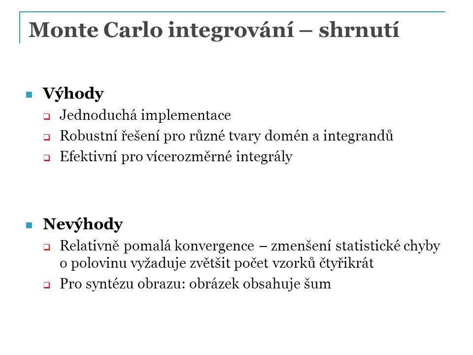 Monte Carlo integrování – shrnutí Výhody  Jednoduchá implementace  Robustní řešení pro různé tvary domén a integrandů  Efektivní pro vícerozměrné i