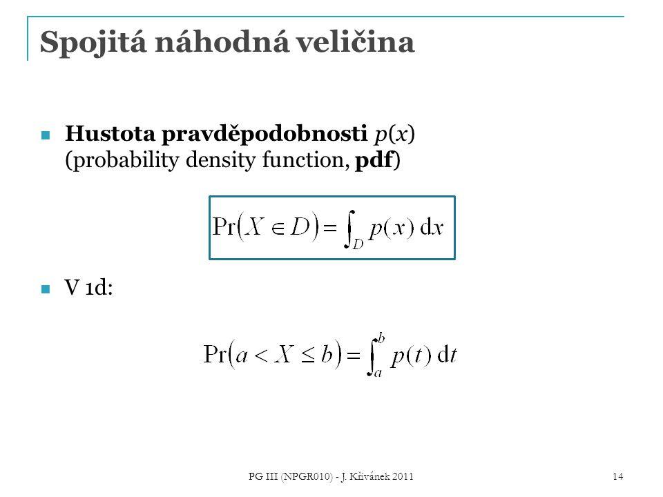 Spojitá náhodná veličina Hustota pravděpodobnosti p(x) (probability density function, pdf) V 1d: PG III (NPGR010) - J. Křivánek 2011 14