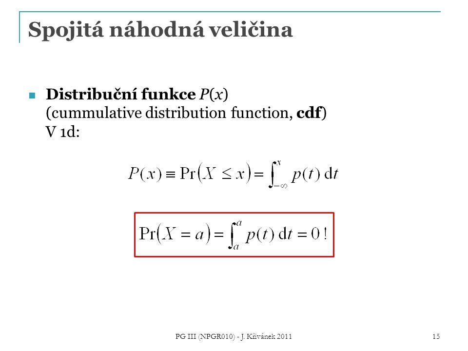Spojitá náhodná veličina Distribuční funkce P(x) (cummulative distribution function, cdf) V 1d: PG III (NPGR010) - J. Křivánek 2011 15
