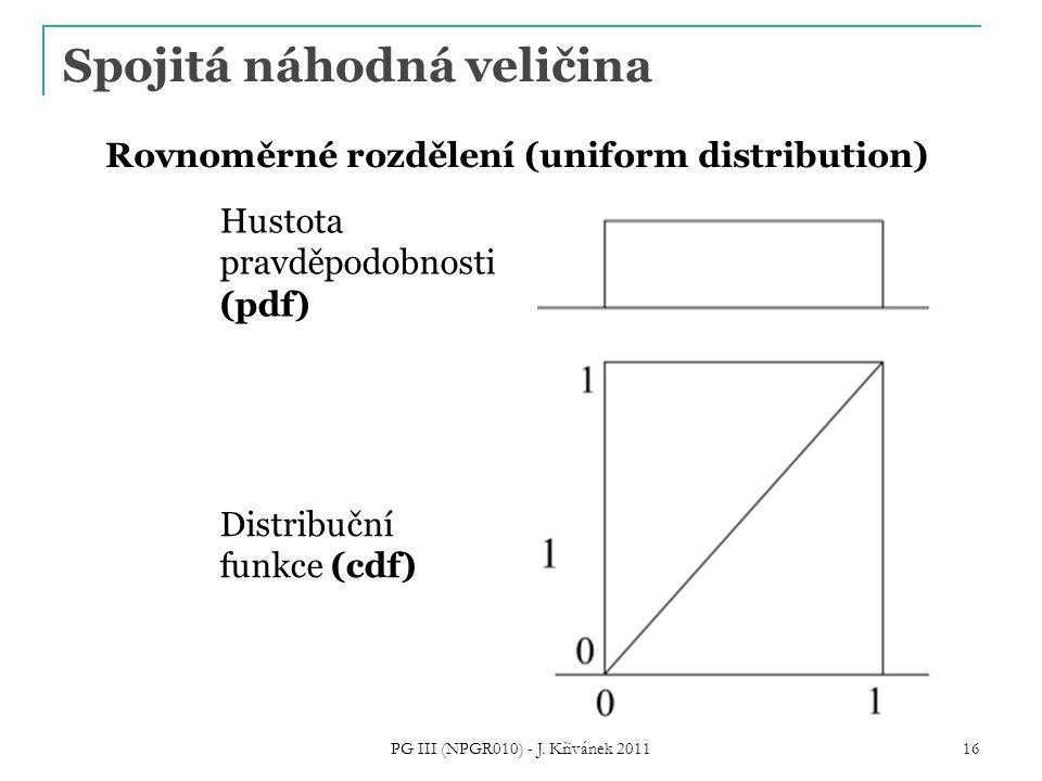 Spojitá náhodná veličina PG III (NPGR010) - J. Křivánek 2011 16 Hustota pravděpodobnosti (pdf) Rovnoměrné rozdělení (uniform distribution) Distribuční