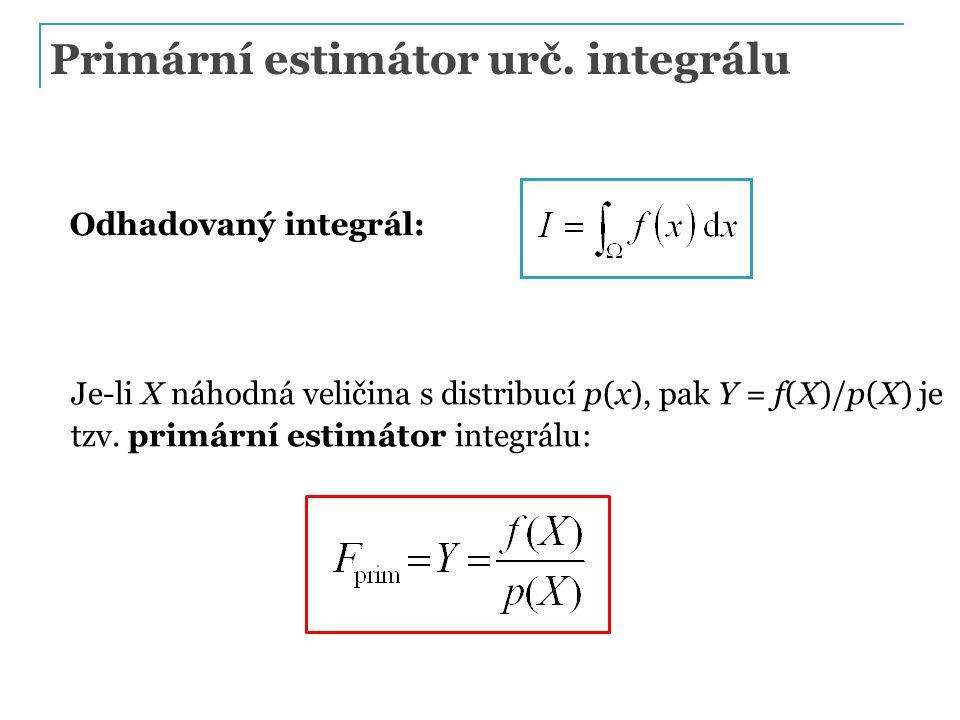 Primární estimátor urč. integrálu Odhadovaný integrál: Je-li X náhodná veličina s distribucí p(x), pak Y = f(X)/p(X) je tzv. primární estimátor integr
