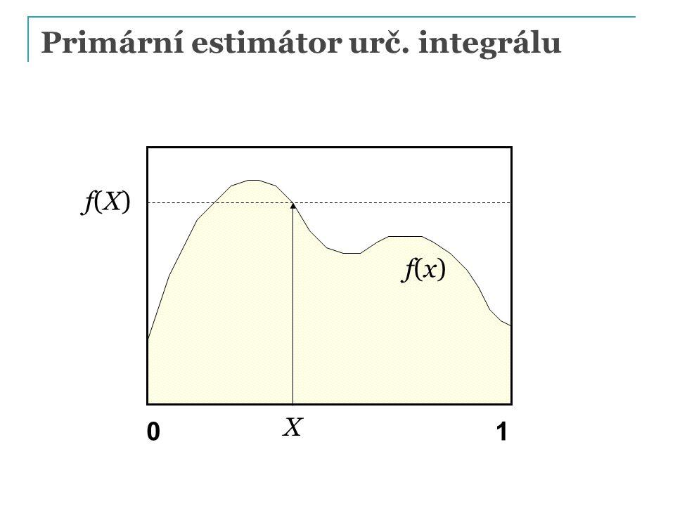 Primární estimátor urč. integrálu X f(x)f(x) f(X) f(X) 01