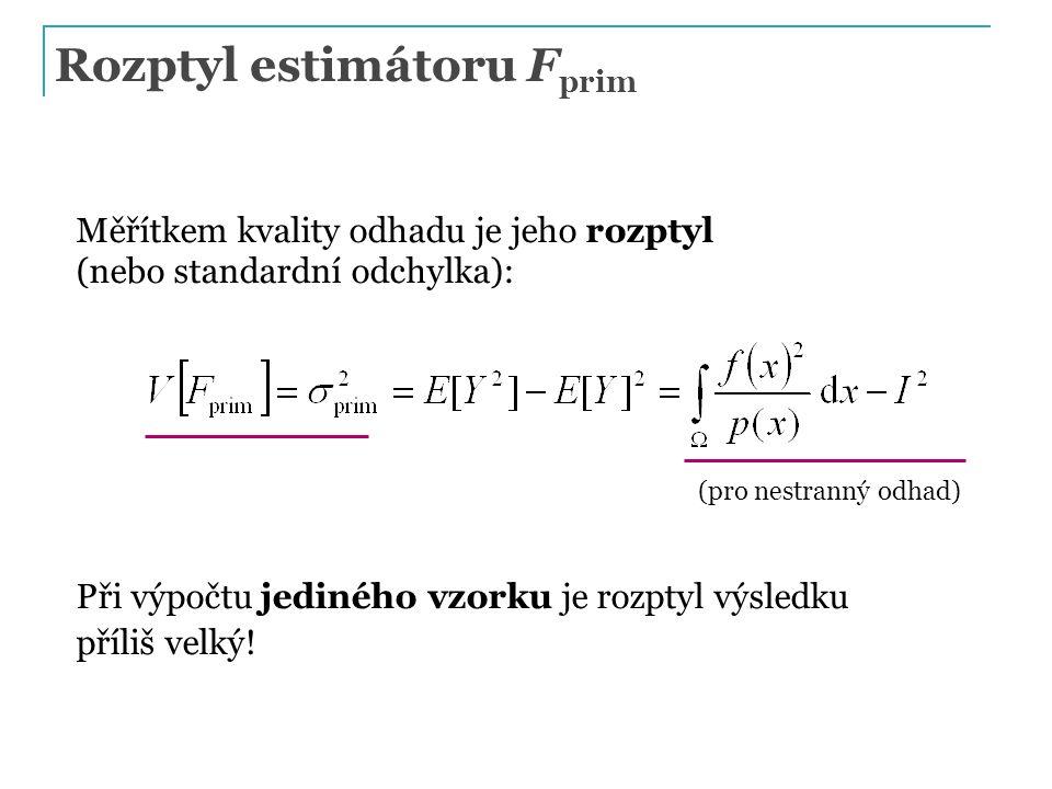 Rozptyl estimátoru F prim Měřítkem kvality odhadu je jeho rozptyl (nebo standardní odchylka): Při výpočtu jediného vzorku je rozptyl výsledku příliš v