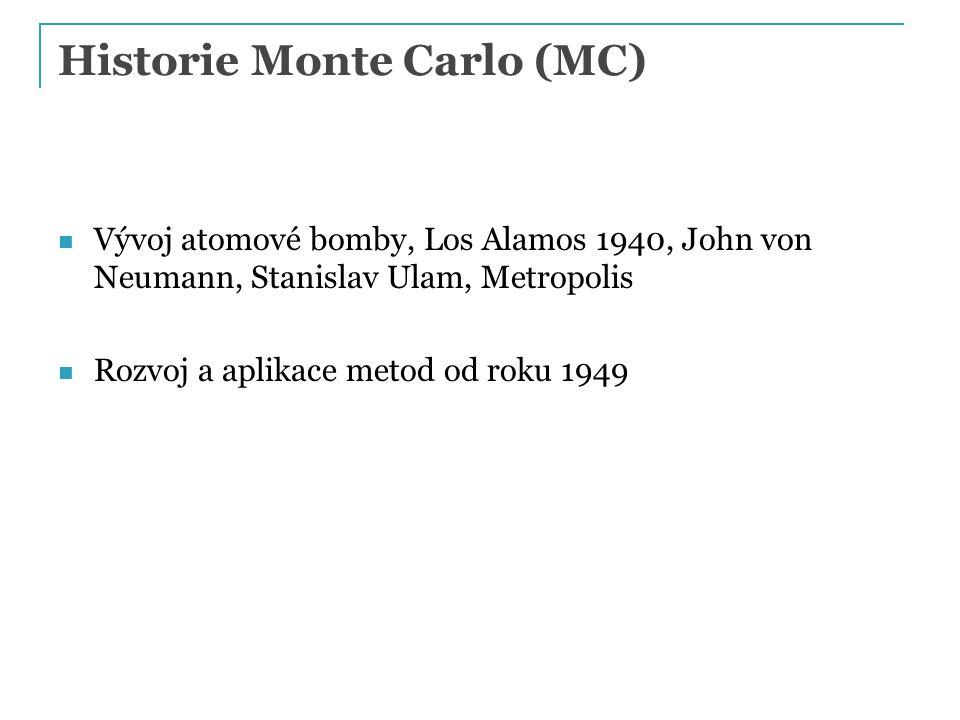 Historie Monte Carlo (MC) Vývoj atomové bomby, Los Alamos 1940, John von Neumann, Stanislav Ulam, Metropolis Rozvoj a aplikace metod od roku 1949