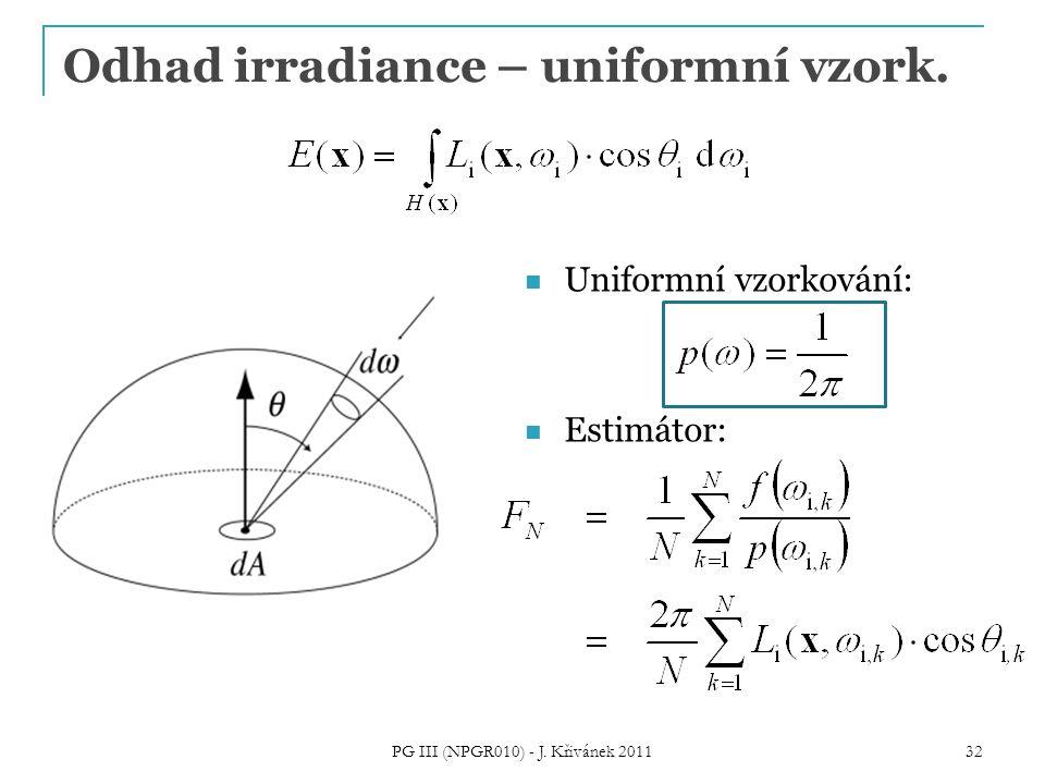 Odhad irradiance – uniformní vzork. Uniformní vzorkování: Estimátor: PG III (NPGR010) - J. Křivánek 2011 32