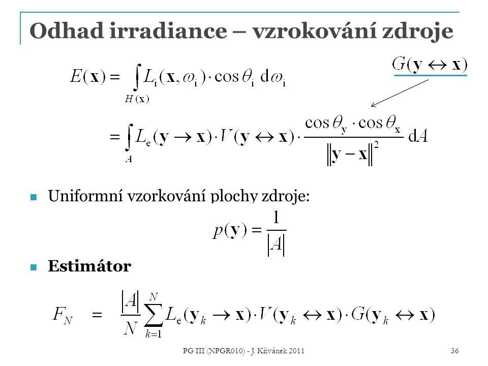 Uniformní vzorkování plochy zdroje: Estimátor PG III (NPGR010) - J. Křivánek 2011 36