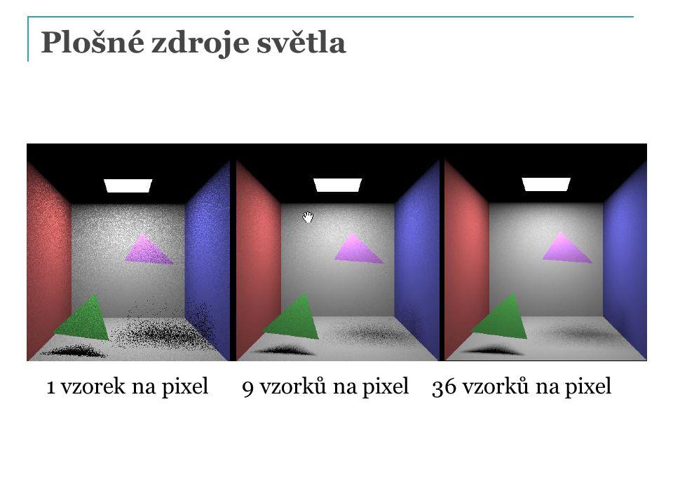 Plošné zdroje světla 1 vzorek na pixel 9 vzorků na pixel 36 vzorků na pixel