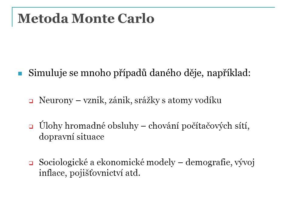 Metoda Monte Carlo Simuluje se mnoho případů daného děje, například:  Neurony – vznik, zánik, srážky s atomy vodíku  Úlohy hromadné obsluhy – chování počítačových sítí, dopravní situace  Sociologické a ekonomické modely – demografie, vývoj inflace, pojišťovnictví atd.