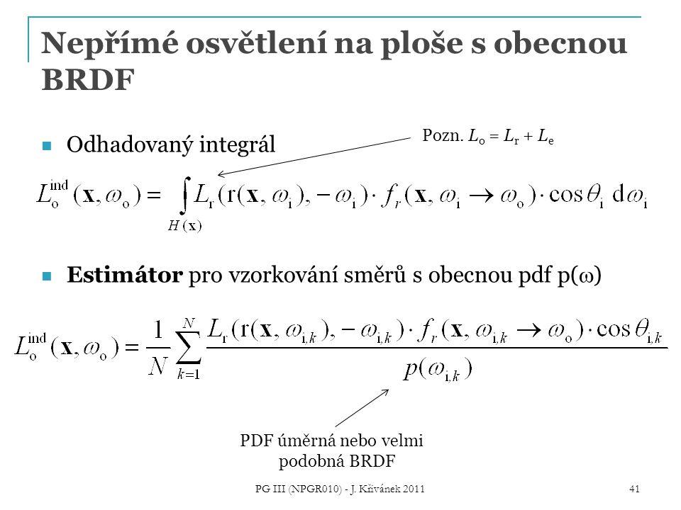 Nepřímé osvětlení na ploše s obecnou BRDF Odhadovaný integrál Estimátor pro vzorkování směrů s obecnou pdf p(  ) PG III (NPGR010) - J.