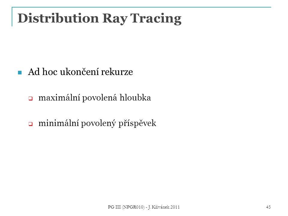Distribution Ray Tracing Ad hoc ukončení rekurze  maximální povolená hloubka  minimální povolený příspěvek PG III (NPGR010) - J.