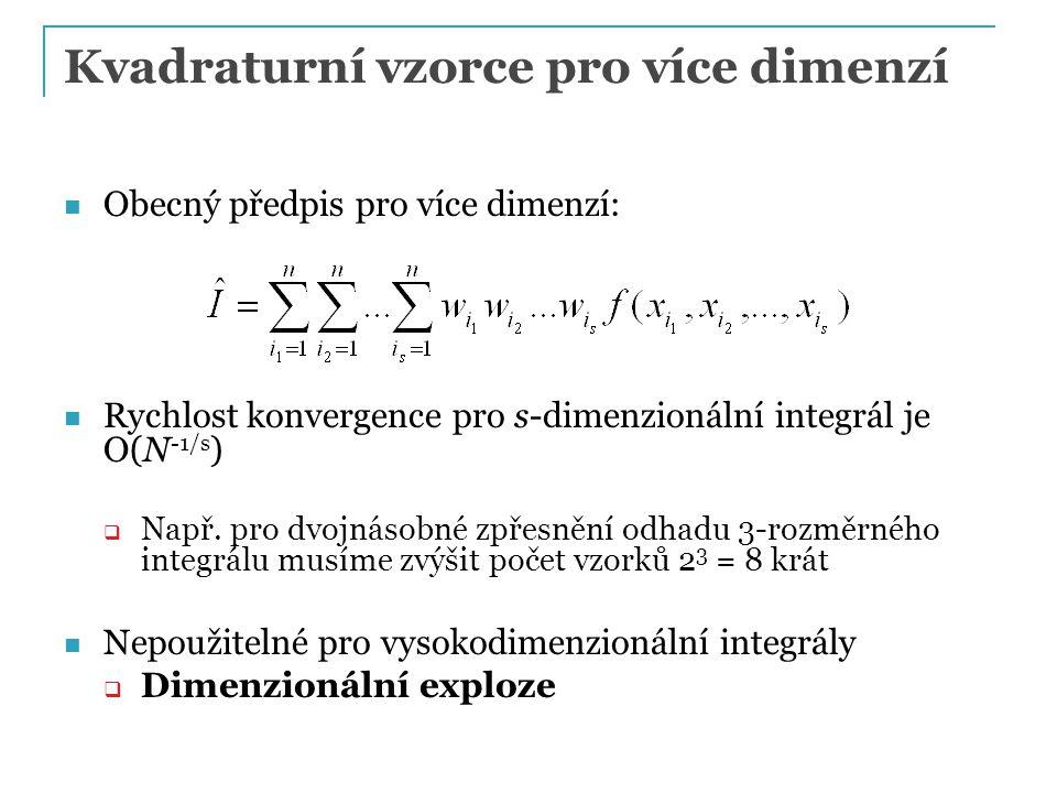 Kvadraturní vzorce pro více dimenzí Obecný předpis pro více dimenzí: Rychlost konvergence pro s-dimenzionální integrál je O(N -1/s )  Např.