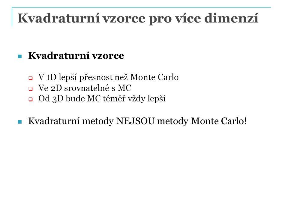 Kvadraturní vzorce pro více dimenzí Kvadraturní vzorce  V 1D lepší přesnost než Monte Carlo  Ve 2D srovnatelné s MC  Od 3D bude MC téměř vždy lepší Kvadraturní metody NEJSOU metody Monte Carlo!