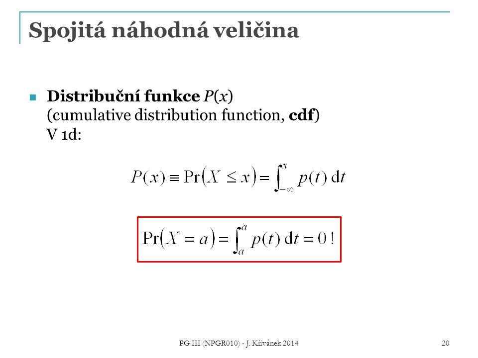 Spojitá náhodná veličina Distribuční funkce P(x) (cumulative distribution function, cdf) V 1d: PG III (NPGR010) - J.