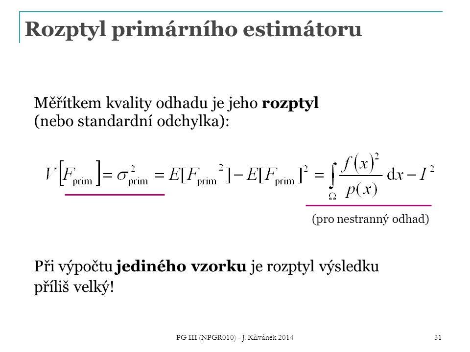 Rozptyl primárního estimátoru Měřítkem kvality odhadu je jeho rozptyl (nebo standardní odchylka): Při výpočtu jediného vzorku je rozptyl výsledku příliš velký.