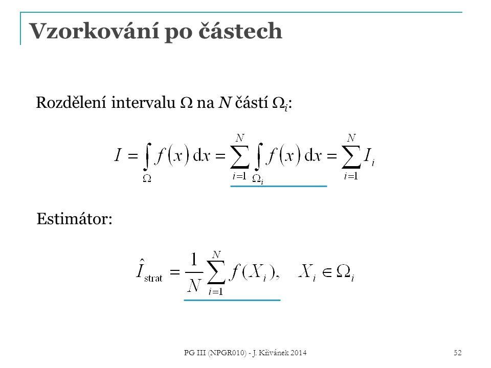 Rozdělení intervalu  na N částí  i : Estimátor: Vzorkování po částech PG III (NPGR010) - J.