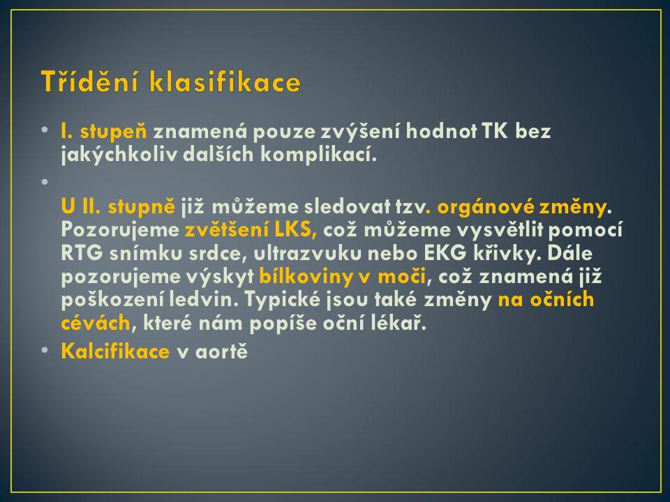 I.stupeň znamená pouze zvýšení hodnot TK bez jakýchkoliv dalších komplikací.