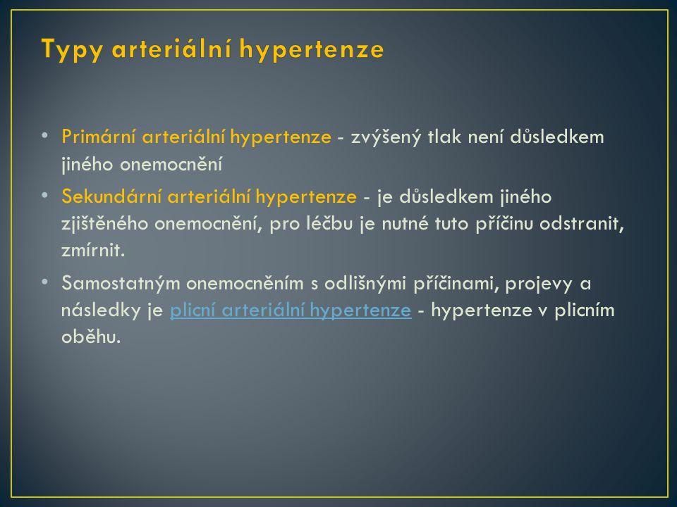 Primární arteriální hypertenze - zvýšený tlak není důsledkem jiného onemocnění Sekundární arteriální hypertenze - je důsledkem jiného zjištěného onemocnění, pro léčbu je nutné tuto příčinu odstranit, zmírnit.