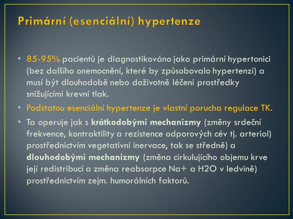 85-95% pacientů je diagnostikováno jako primární hypertonici (bez dalšího onemocnění, které by způsobovalo hypertenzi) a musí být dlouhodobě nebo doživotně léčeni prostředky snižujícími krevní tlak.