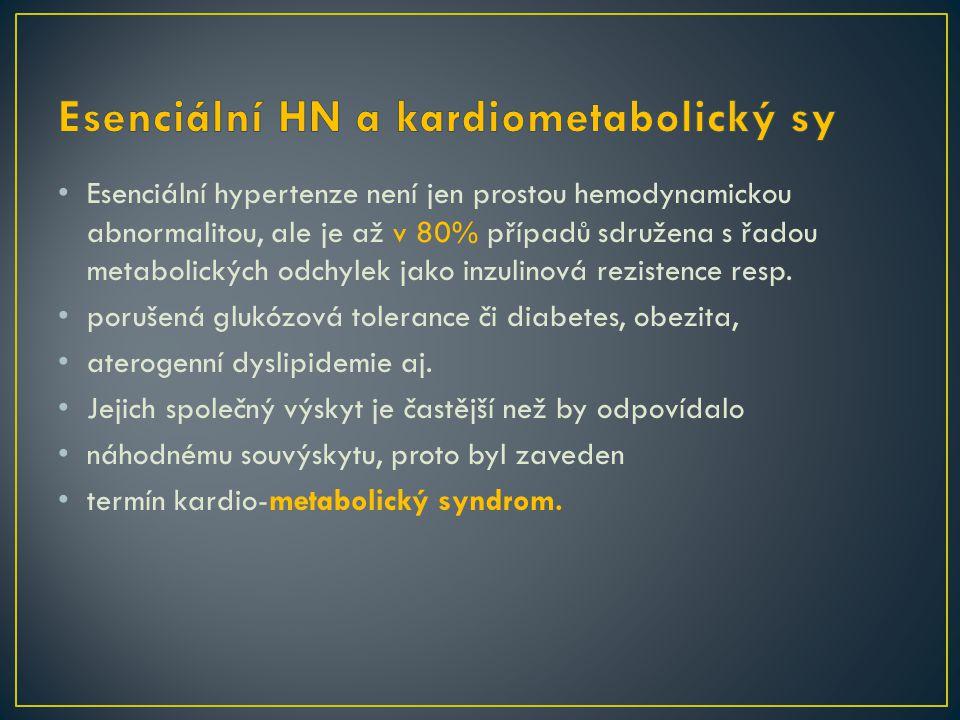 Esenciální hypertenze není jen prostou hemodynamickou abnormalitou, ale je až v 80% případů sdružena s řadou metabolických odchylek jako inzulinová rezistence resp.