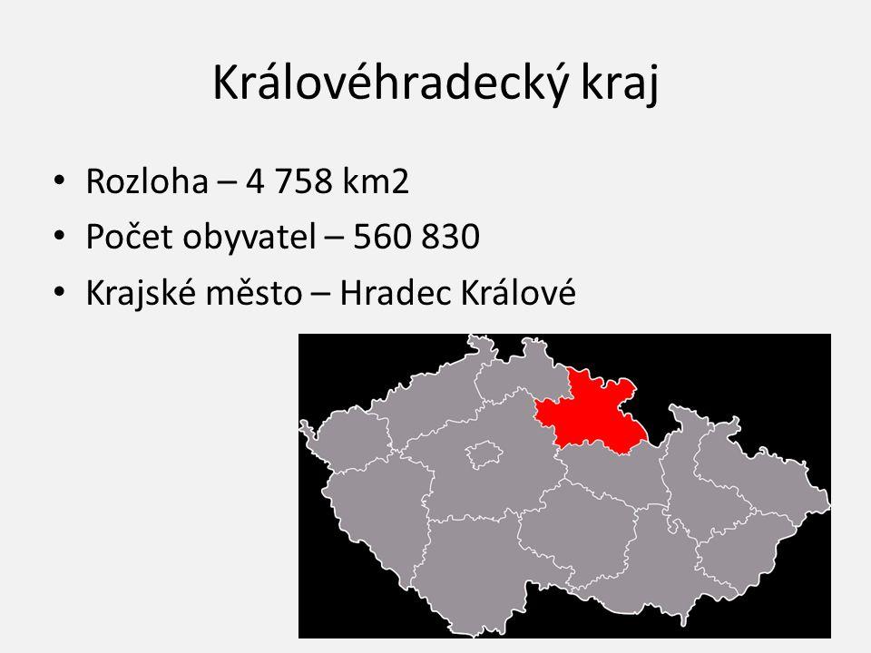 Královéhradecký kraj Rozloha – 4 758 km2 Počet obyvatel – 560 830 Krajské město – Hradec Králové