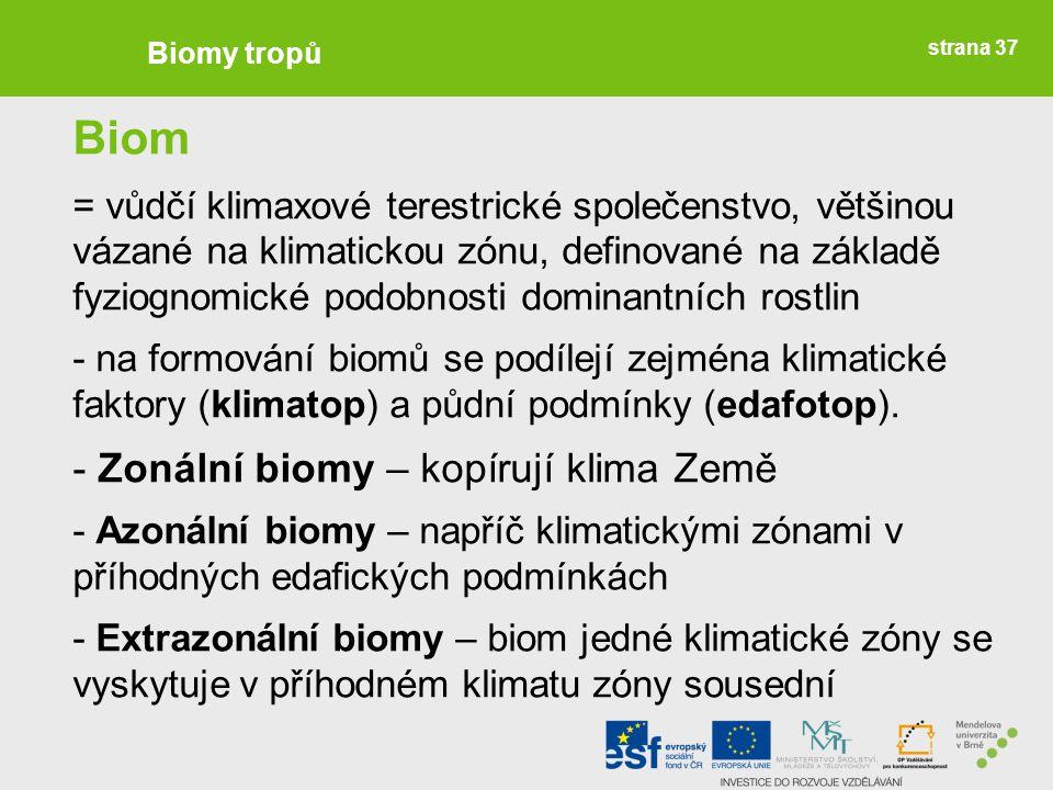 strana 37 Biomy tropů Biom = vůdčí klimaxové terestrické společenstvo, většinou vázané na klimatickou zónu, definované na základě fyziognomické podobn