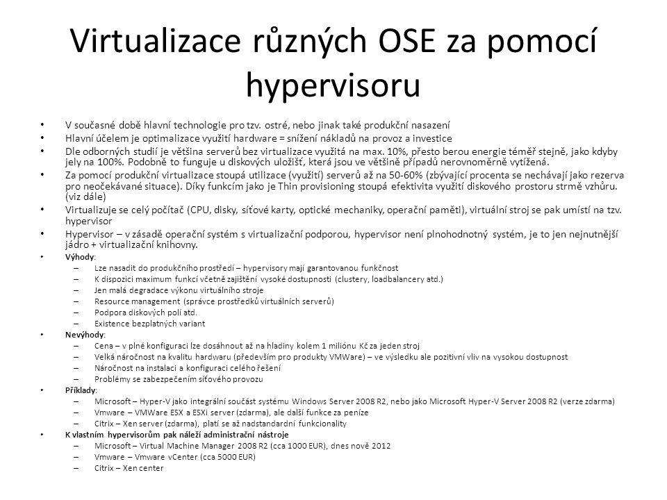 Virtualizace různých OSE za pomocí hypervisoru V současné době hlavní technologie pro tzv.