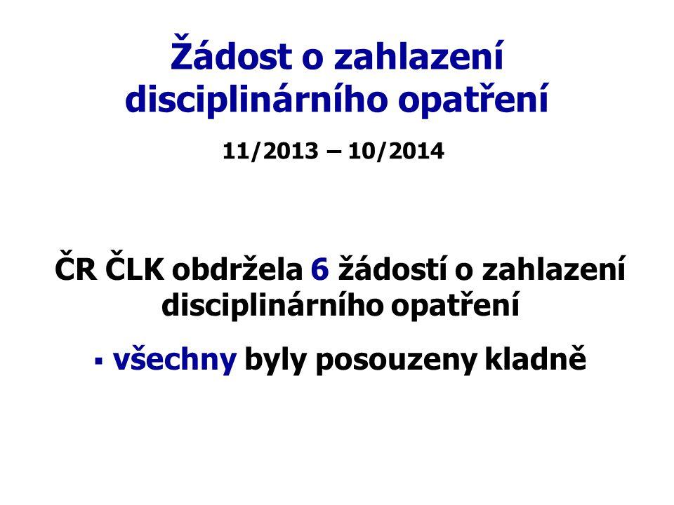 Žádost o zahlazení disciplinárního opatření ČR ČLK obdržela 6 žádostí o zahlazení disciplinárního opatření   všechny byly posouzeny kladně 11/2013 –