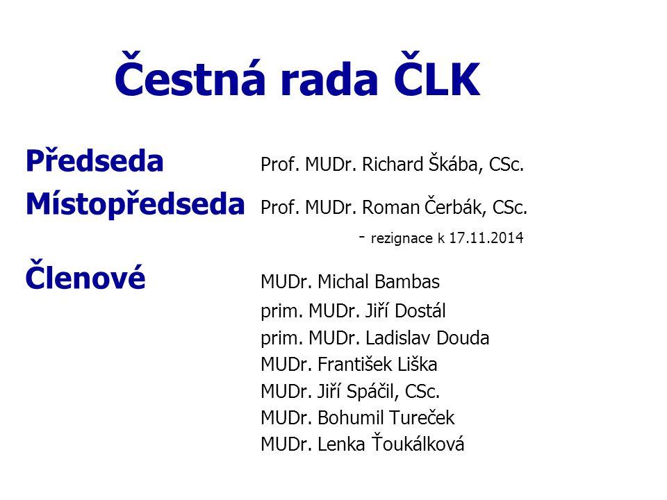 Čestná rada ČLK Předseda Prof. MUDr. Richard Škába, CSc. Místopředseda Prof. MUDr. Roman Čerbák, CSc. - rezignace k 17.11.2014 Členové MUDr. Michal Ba