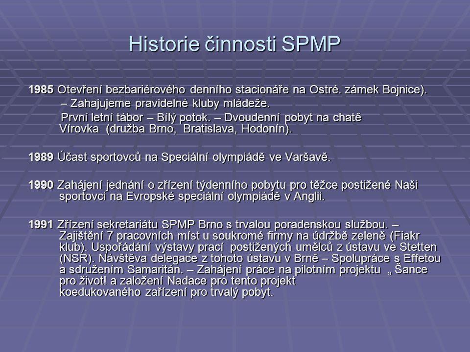 Historie činnosti SPMP 1985 Otevření bezbariérového denního stacionáře na Ostré.