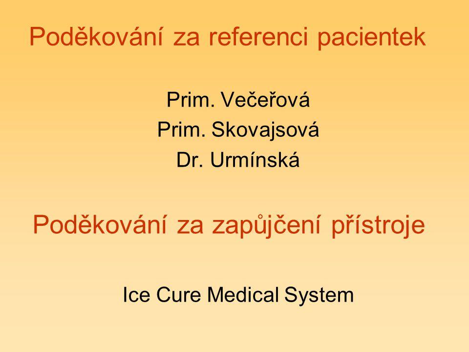 Poděkování za referenci pacientek Prim. Večeřová Prim. Skovajsová Dr. Urmínská Poděkování za zapůjčení přístroje Ice Cure Medical System