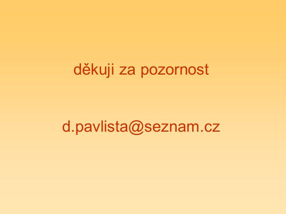 děkuji za pozornost d.pavlista@seznam.cz