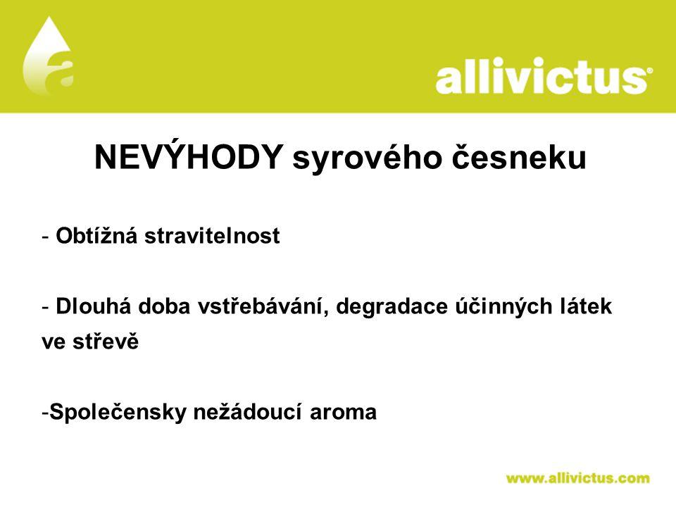 ALLIVICTUS léčivo pro vyvolené NEVÝHODY syrového česneku - Obtížná stravitelnost - Dlouhá doba vstřebávání, degradace účinných látek ve střevě -Společ