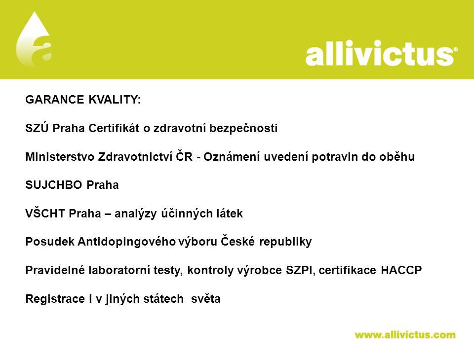 ALLIVICTUS léčivo pro vyvolené GARANCE KVALITY: SZÚ Praha Certifikát o zdravotní bezpečnosti Ministerstvo Zdravotnictví ČR - Oznámení uvedení potravin