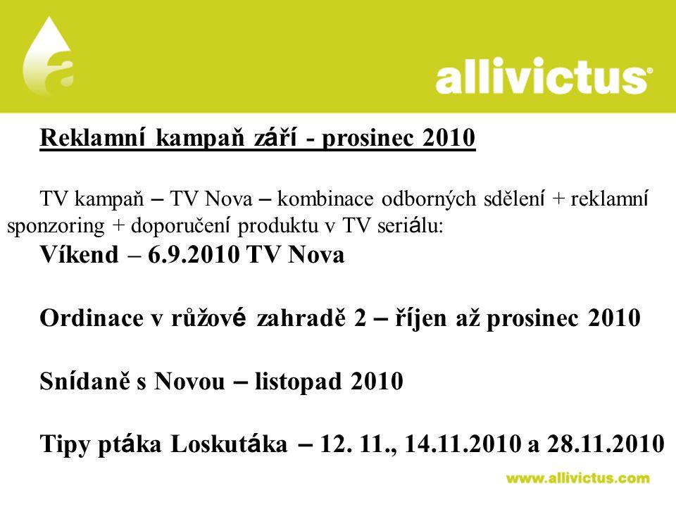 ALLIVICTUS léčivo pro vyvolené Reklamn í kampaň z á ř í - prosinec 2010 TV kampaň – TV Nova – kombinace odborných sdělen í + reklamn í sponzoring + do