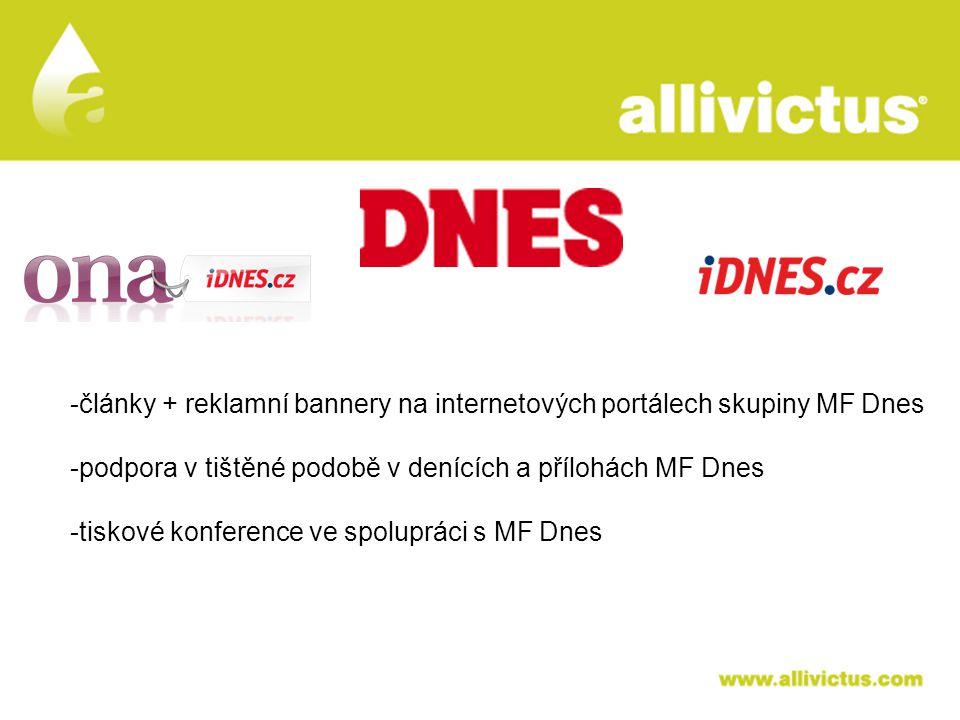ALLIVICTUS léčivo pro vyvolené -články + reklamní bannery na internetových portálech skupiny MF Dnes -podpora v tištěné podobě v denících a přílohách