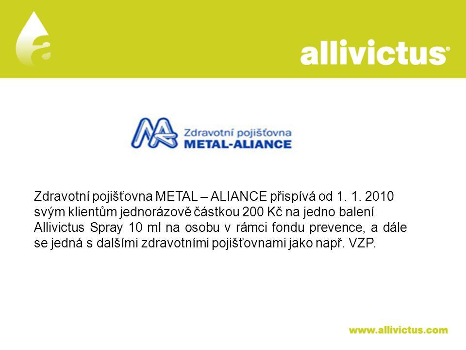 ALLIVICTUS léčivo pro vyvolené Zdravotní pojišťovna METAL – ALIANCE přispívá od 1. 1. 2010 svým klientům jednorázově částkou 200 Kč na jedno balení Al