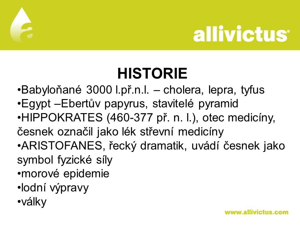 ALLIVICTUS léčivo pro vyvolené HISTORIE Babyloňané 3000 l.př.n.l. – cholera, lepra, tyfus Egypt –Ebertův papyrus, stavitelé pyramid HIPPOKRATES (460-3