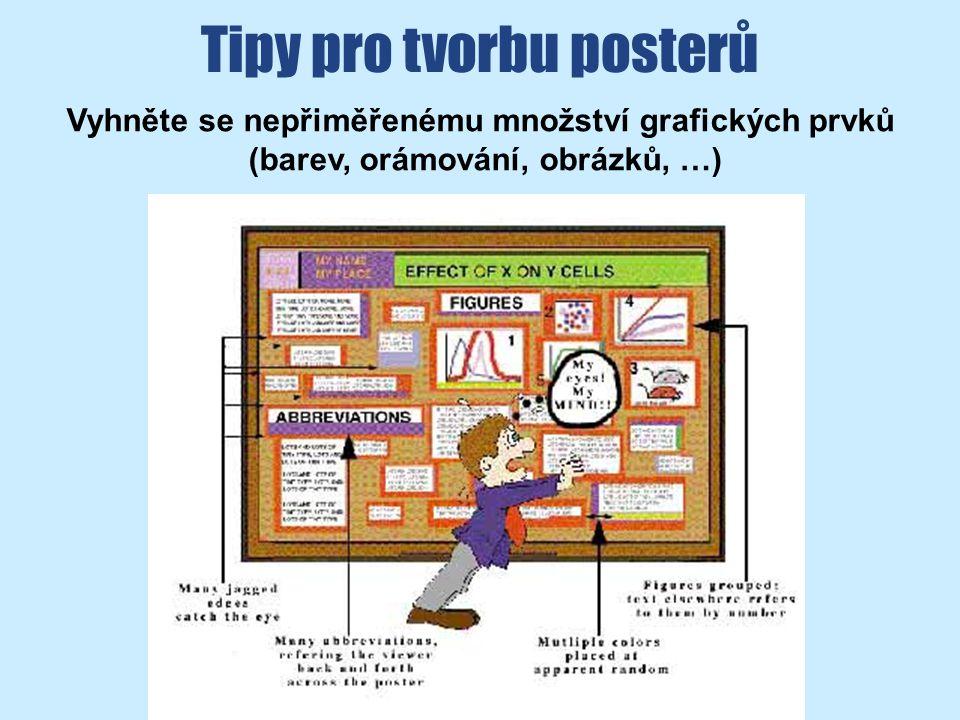 Tipy pro tvorbu posterů Vyhněte se nepřiměřenému množství grafických prvků (barev, orámování, obrázků, …)