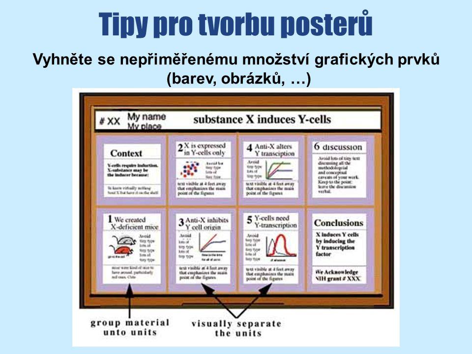 Tipy pro tvorbu posterů Vyhněte se nepřiměřenému množství grafických prvků (barev, obrázků, …)