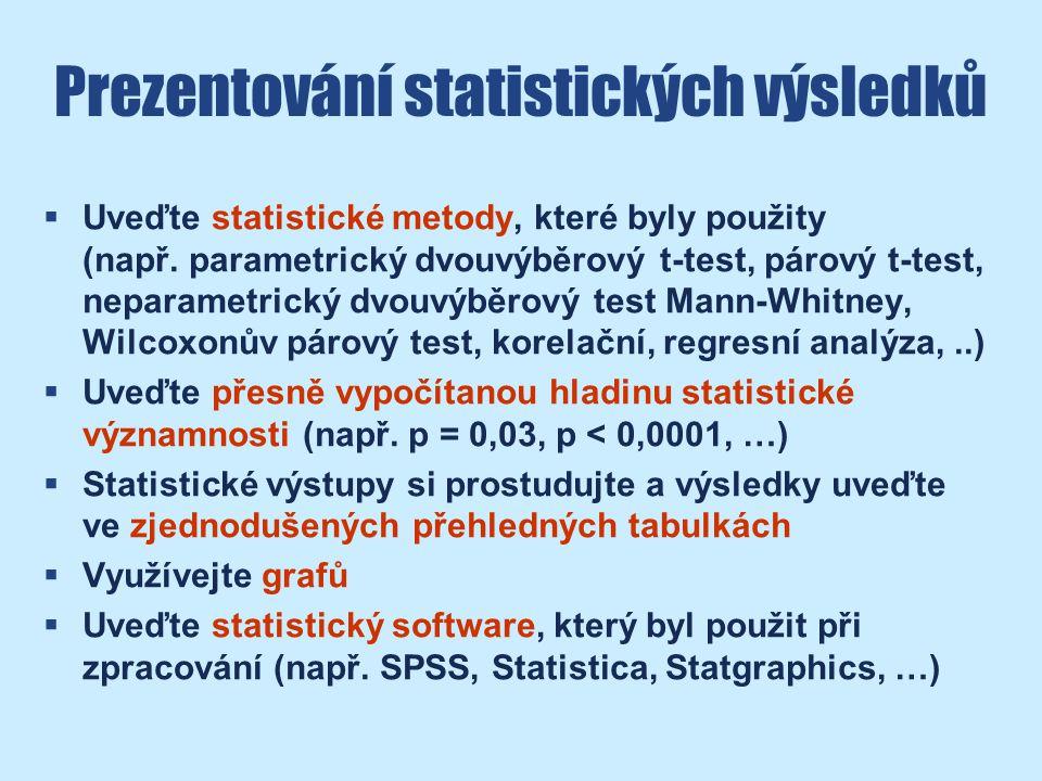 Prezentování statistických výsledků  Uveďte statistické metody, které byly použity (např.