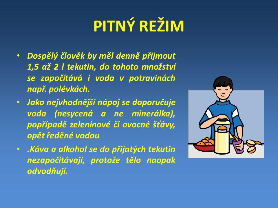 PITNÝ REŽIM Dospělý člověk by měl denně přijmout 1,5 až 2 l tekutin, do tohoto množství se započítává i voda v potravinách např.