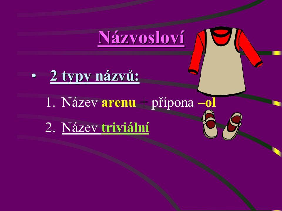 Názvosloví 2 typy názvů:2 typy názvů: 1.Název arenu + přípona –ol 2.Název triviální